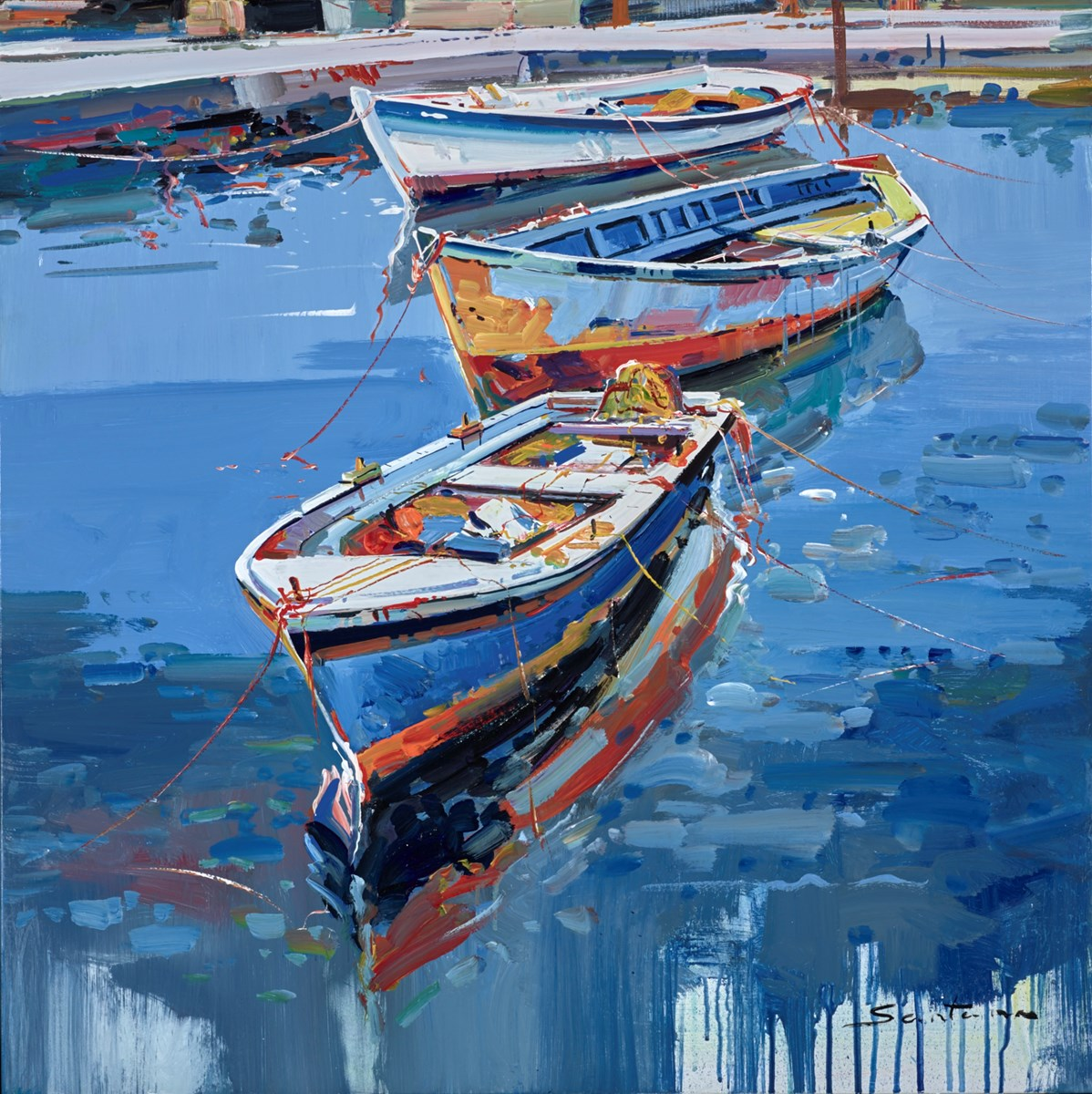 Blue Harbour Reflections III by santana -  sized 32x32 inches. Available from Whitewall Galleries